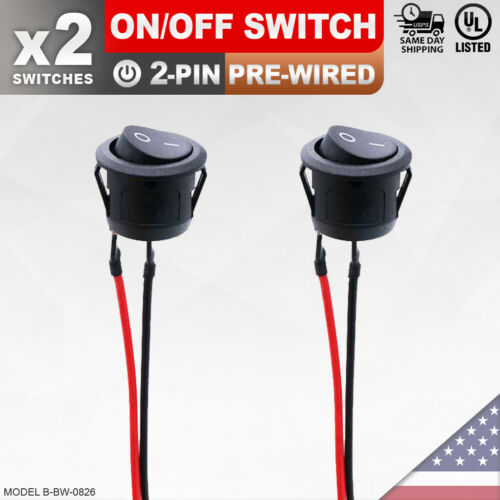 2 Pack Heavy Duty On/Off Pre-Wired Switch 2-Pin Toggle Rocker Push Button SPST