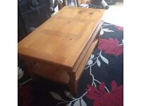 Large Solid Pine Coffee Table in used condition, has a few marks and scratches but easily sanded off