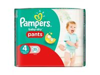 Pampers Baby-Dry Pants Size 4 Carry Pack 23 Nappies 8 availlable