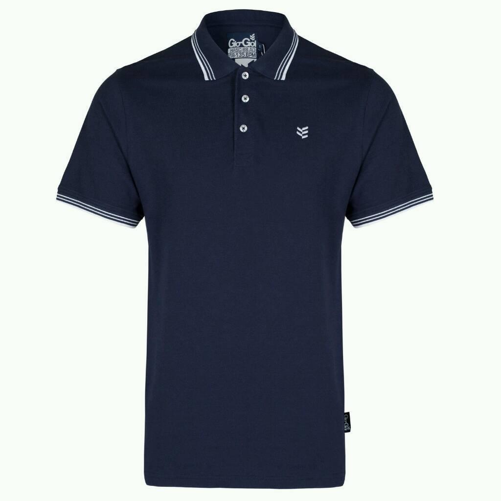 Gio Goi Mens Tipped Polo Shirt Navy