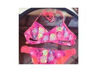 Colourful bright pink bikini