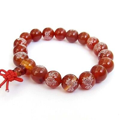 Red Agate Gemstone Buddha Word Lotus Tibet Buddhist Prayer Beads Mala (Lotus Stone)