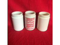 3 vintage Keiller Marmalade milk glass jars: Three Fruits (red writing) & 2 plain. £10 ovno lot.