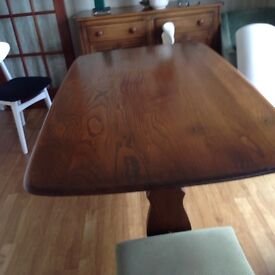 Ercol dining table vintage refectory in elm