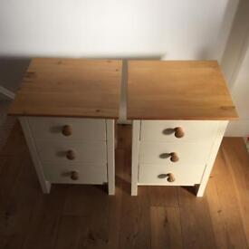 Two Pine Bedside Tables - painted in country cream