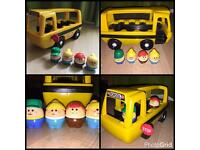 Vintage retro little tikes bus and people