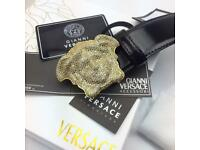Diamond crystal buckle bling bling leather men's belt versace boxed very rare to find price slash