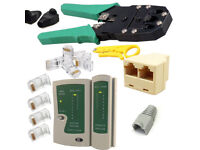 RJ45 Network Kit Cat5 Cat5e Cable Tester Crimping Cutter Boots Connector Tool UK