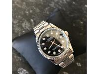 Rolex Date-Just Watch (Silver / Black Face) Automatic Sweeping.