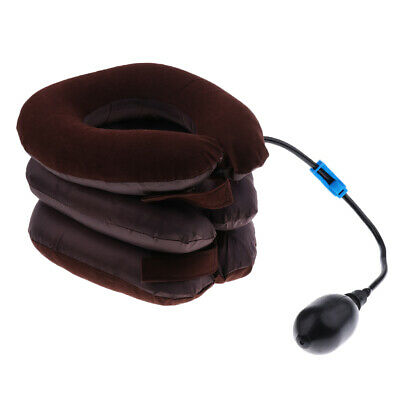 Inflatable Pump Pillow Neck Head Traction Support Device - Brown