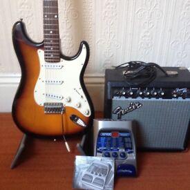 Fender Squier Strat guitar pack - lots of stuff