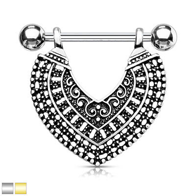 PAIR Vintage Design Heart Dangle Nipple Rings Shields - Silver or Gold