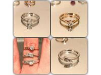 Joblot 3 rings & necklace (white gold, yellow gold, diamond, topaz)