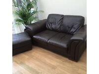 Leather settee 2 seater with large pouffee Dark brown.
