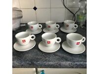 6 Illy Cappuccino Cup and Saucers