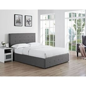 Brand New Double Chanel Fabric Storage Ottoman Bed - Gas Lift