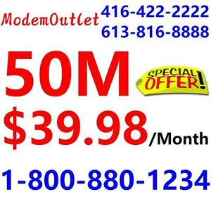 FREE Modem + FREE Dryloop ,  25M unlimited internet $34.98 and 50M $39.98 , NO CONTRACT. Please call 1-800-880-1234