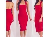 Gorgeous High Quality Women Fashion Sexy Red Rayon Bandage Dress Designer Bodycon UK 12