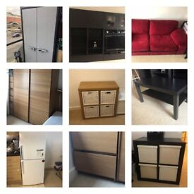 Joblot Furniture, Sofabet 3 seat, Bedroom Wardrobe, 2 x Shelving , Fridge, Livingroom furniture etc