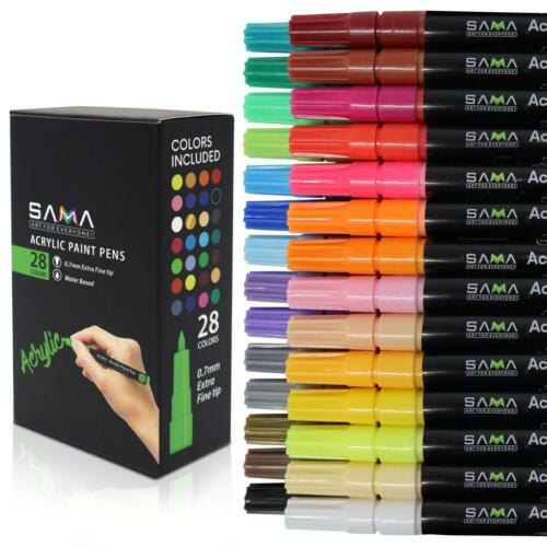 Acrylic Paint Pens-Set of 28 Premium Markers Extra Fine Tip for DIY Art Project