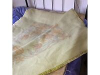 king size blanket Lanerossi pure wool, green/cream/brown double-sided design fire resistant