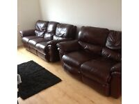 3 seater and 2 seater leather reclining sofa