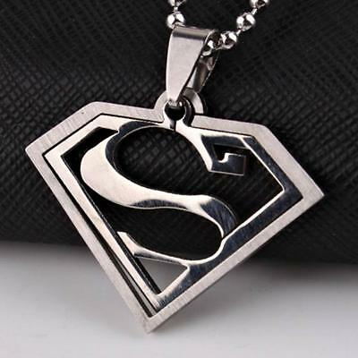 Superman necklaceebay 1 superman necklace 2 piece stainless steel pendant comic super hero jewelry chain mozeypictures Gallery