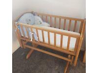 Lovely wooden swinging crib!