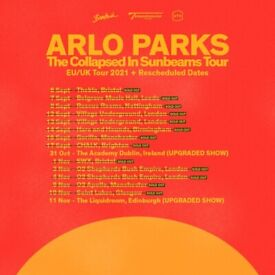 Arlo Parks standing tickets, Rescue Rooms Nottingham, Wednesday 8th September 2021