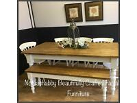NEW STUNNING HANDMADE PINE PLANK TOP FARMHOUSE TABLE BENCH AND CHAIRS