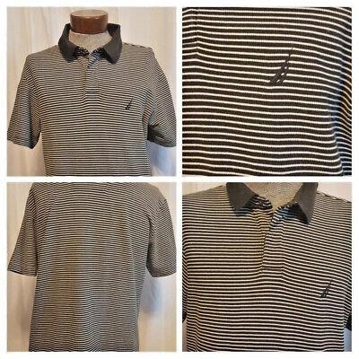 NAUTICA Mens Classic Fit Striped Polo Shirt BLACK / WHITE SIZE L SHORT SLEEVE