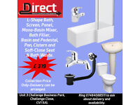 Great Offer. Brand New L-Shape Bath Suite- With Bath Panel Screen Toilet Basin Taps Soft-Close Seat.