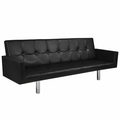 Artificial Leather Sofa Sleeper Black Couch Furniture Living Room Covertible