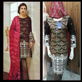 Pakistani Designers Inspired Embroidered Lawn Suit, Fully Stitched.Sizes S/M/L/XL(JZ05)EID 2018 Sale