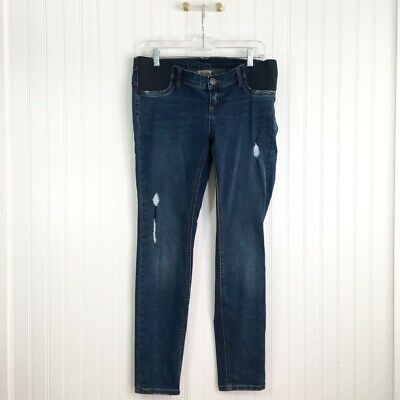 Indigo Blue Womens Skinny Maternity Jeans Blue Stretch Distressed Medium Wash M