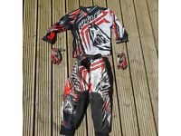 Wulf kids motocross top trousers and gloves