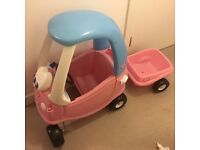 Pink tikes car and trailer