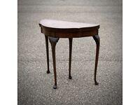 Attractive Antique Demi Lune Walnut Foldover Card Table