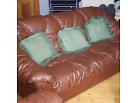 Brown leather suite in mint conditon :)