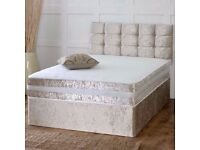 CRUSHED VELVET DIVAN BED + SPRUNG MEMORY FOAM MATTRESS + DIAMANTE/YORK HEADBOARD