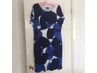 Phase Eight blue and white dress with cap sleeves size 18