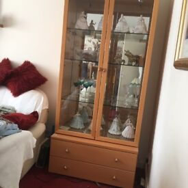 Beech Effect Glass Cabinet with Lights, Mirror back and 2 Drawers