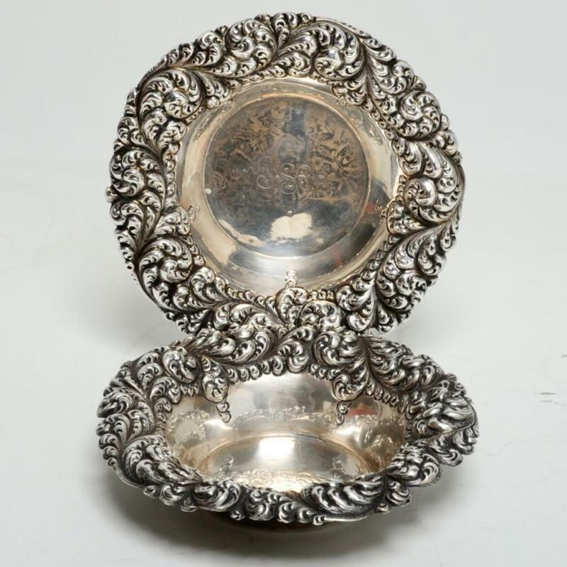 PAIR (2) ANTIQUE GORHAM STERLING SILVER REPOUSSE, CANDY DISHES, #276M