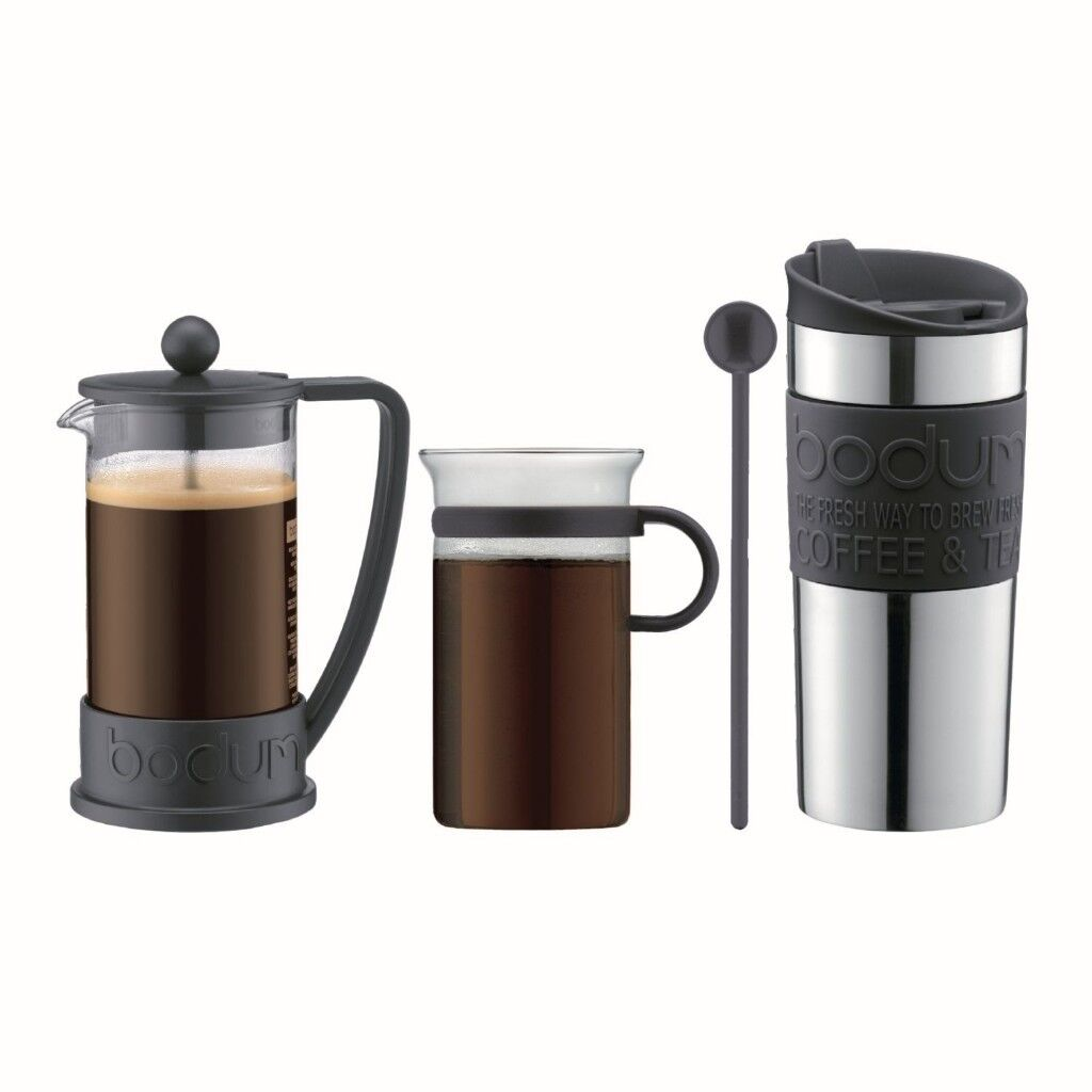 Brand New Boxed Bodum Cafetiere, Coffee and Travel Mug Gift Set, Black