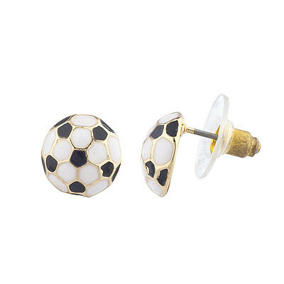 - Lux Accessories Gold Tone Black White Soccer Ball Sports Post Earrings