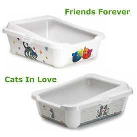 Details about Cat Large Litter Tray With Rim 51x39x19cm 2 Designs Quality Box Pan Toilet Loo