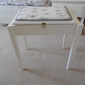 DRESSING TABLE STOOL WITH UNDER SEAT STORAGE PAINTED COUNTRY WHITE
