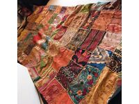 Huge heavy king size handcrafted Indian patchwork quilt / bed cover / throw / wall hanging