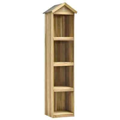 vidaXL Wooden Garden Tool Shed Impregnated Pinewood 4 Storage Shelves Natural