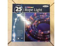 CHRISTMAS ROPE LIGHTS 25 metre Multicoloured Indoor/Outdoor with 8 Light Sequences. New in Box.